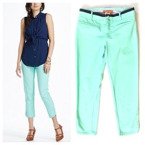 Anthropologie Charlie Cropped Pants Mint Green